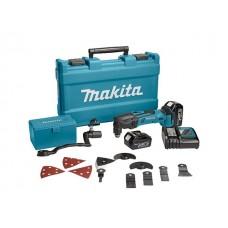 Аккум. многофункциональный инструмент (реноватор) MAKITA DTM 50 RFEX 2 в чем. + набор оснастки (18.0 В, Li-Ion, 2 акк., 3.0 А/ч, 21000 об/мин)
