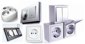 Виды выключателей и электрических розеток